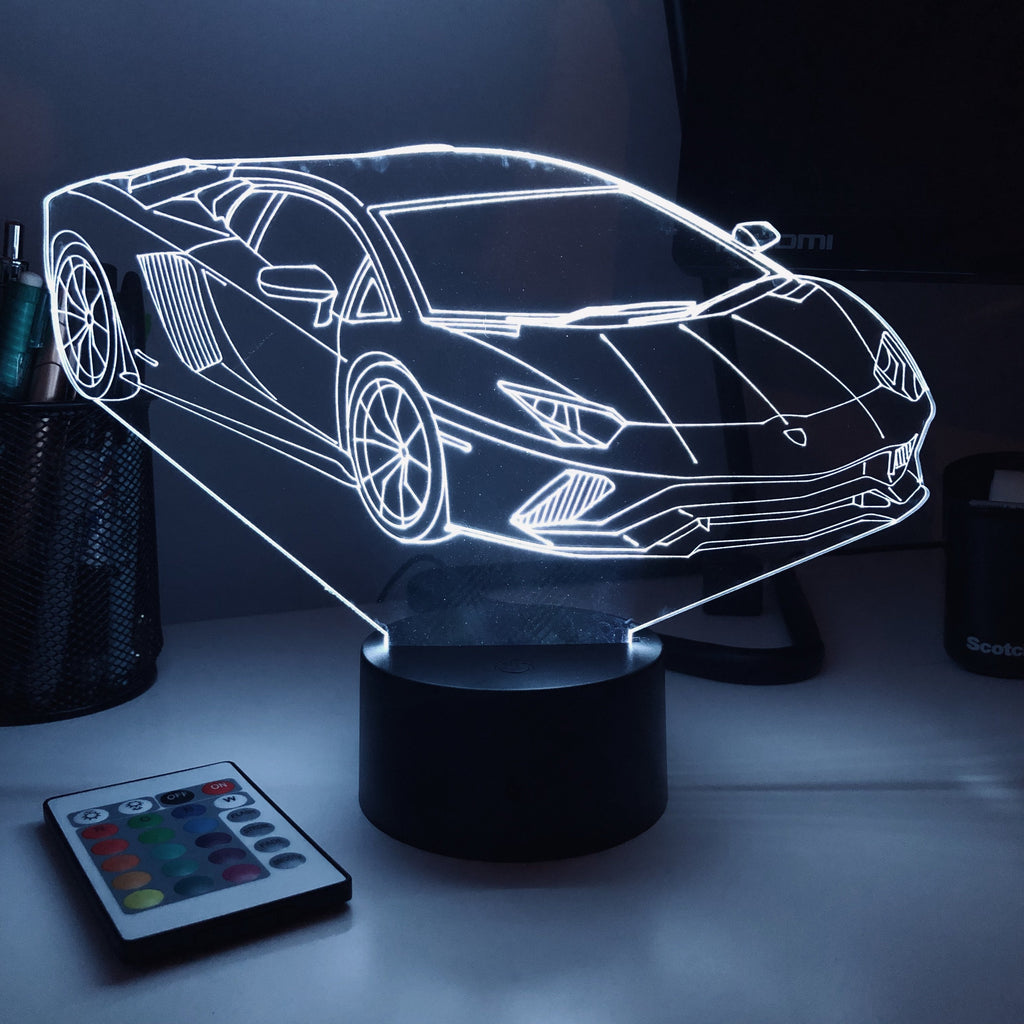 Sports Car Lambi - 3D Optical Illusion Lamp - carve-craftworks-llc