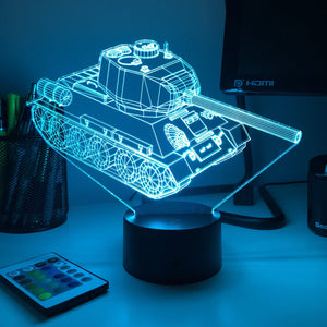 T-34 Soviet Tank - 3D Optical Illusion Desk Lamp - Carve Craftworks, LLC