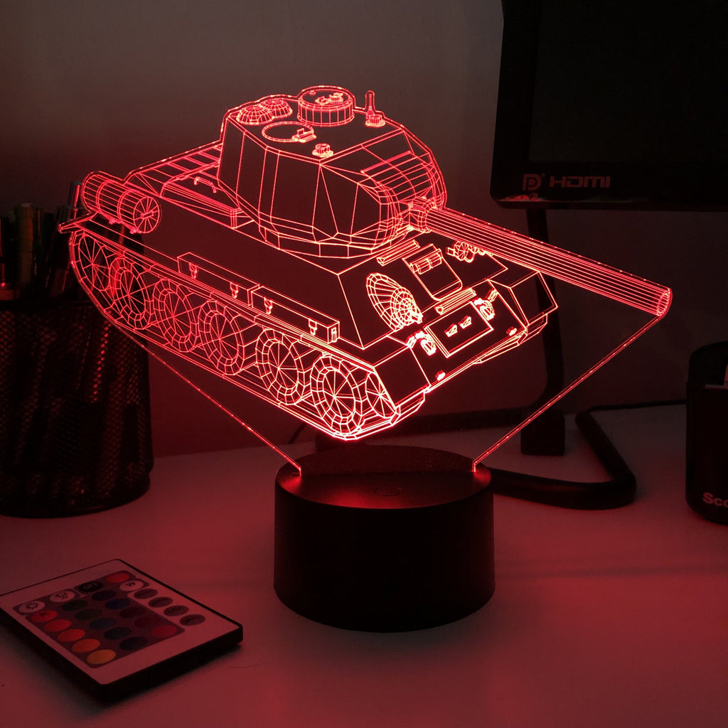 T-34 Soviet Tank  - 3D Optical Illusion Lamp - carve-craftworks-llc