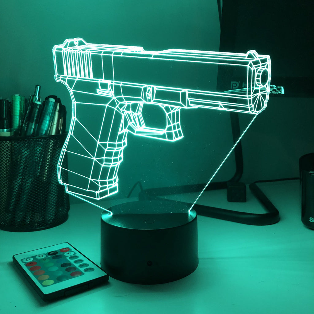 Pistol-17 Firearm - 3D Optical Illusion Lamp - carve-craftworks-llc