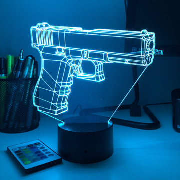 Glock-17 Pistol - 3D Optical Illusion Desk Lamp