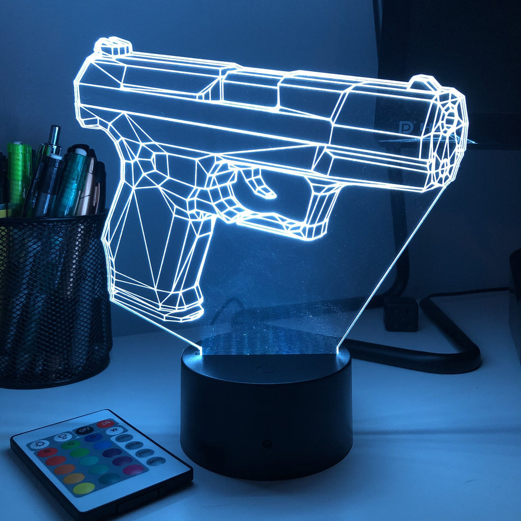 Pistol 100-1 Firearm - 3D Optical Illusion Lamp - carve-craftworks-llc