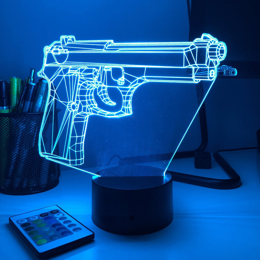 Pistol 3-1 - 3D Optical Illusion Lamp - carve-craftworks-llc
