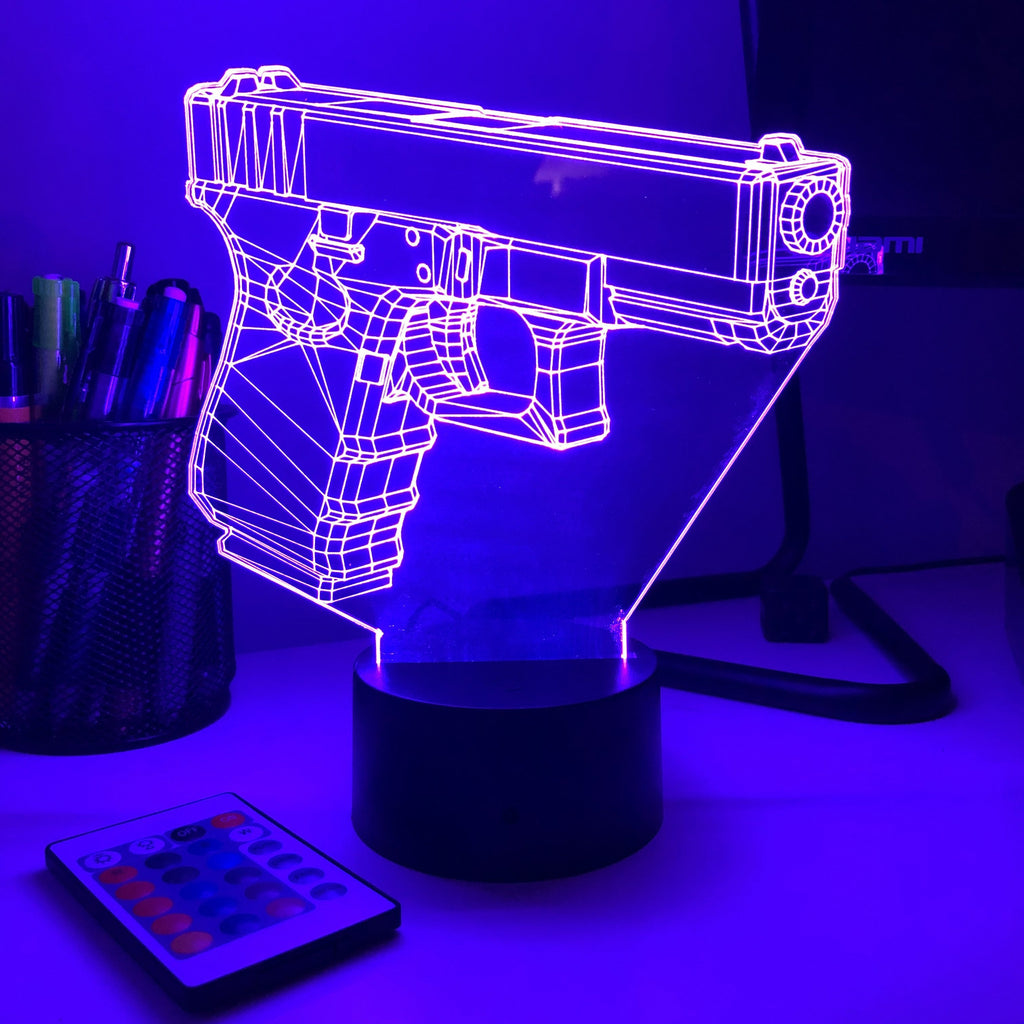 Pistol 0-1 Firearm - 3D Optical Illusion Lamp - carve-craftworks-llc