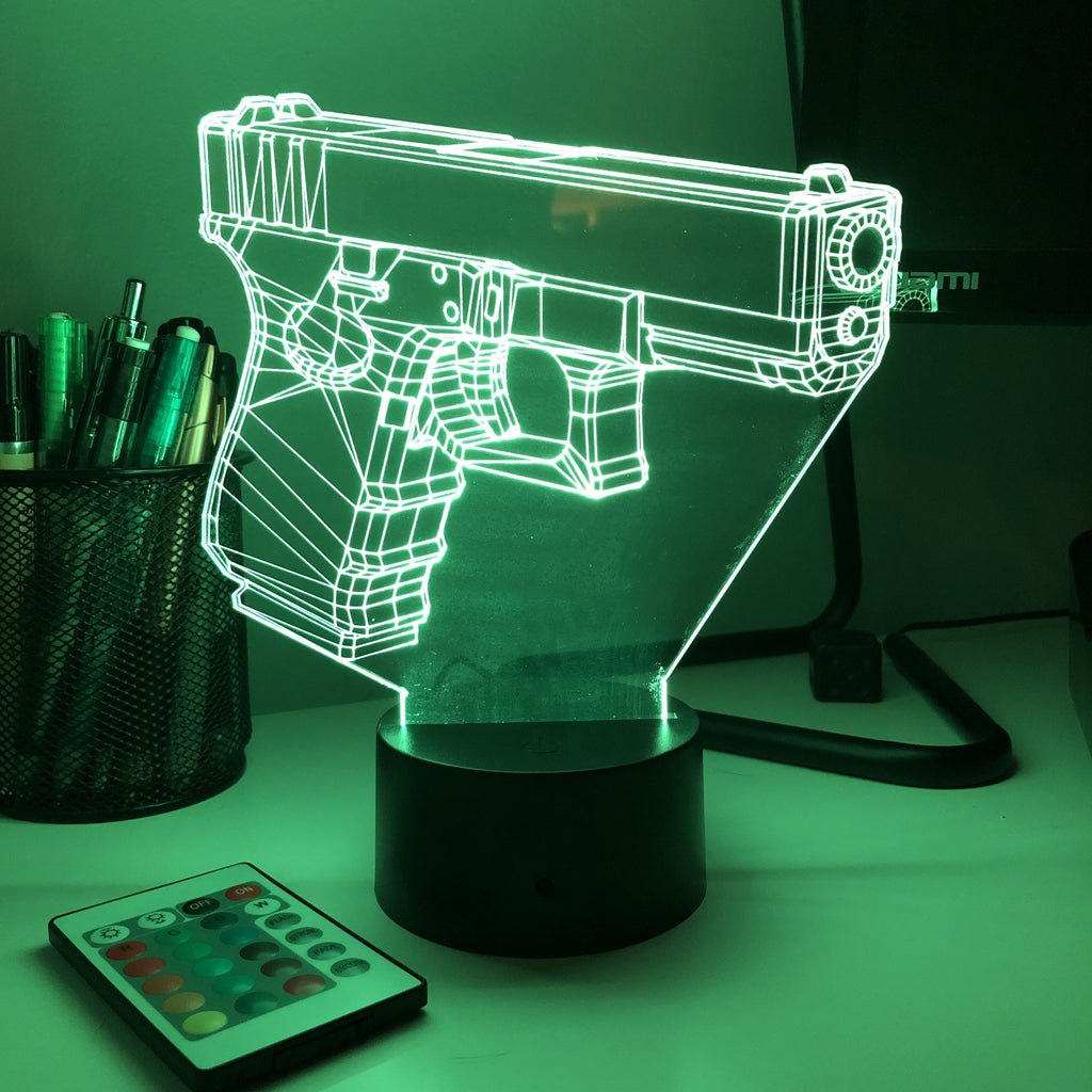 Pistol-19 Firearm - 3D Optical Illusion Lamp - carve-craftworks-llc