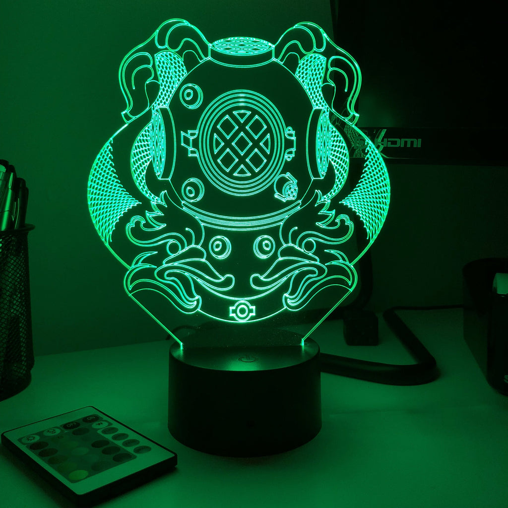 Navy Diver Badge 1st Class - 3D Optical Illusion Lamp - Carve Craftworks, LLC