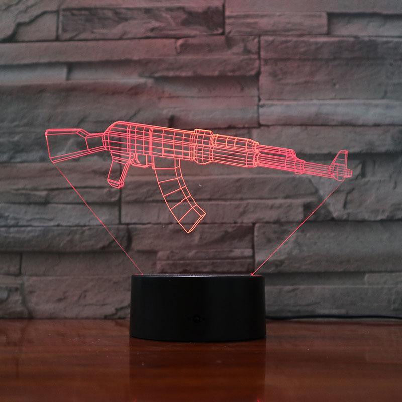 AK-47 Rifle - 3D Optical Illusion Lamp