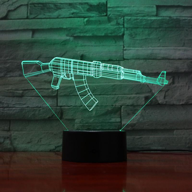 Rifle 7.62- 3D Optical Illusion Lamp - carve-craftworks-llc