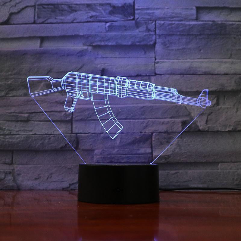 AK-47 Rifle - 3D Optical Illusion Lamp - carve-craftworks-llc