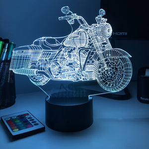 Road King Motorcycle - 3D Optical Illusion Lamp - Carve Craftworks, LLC