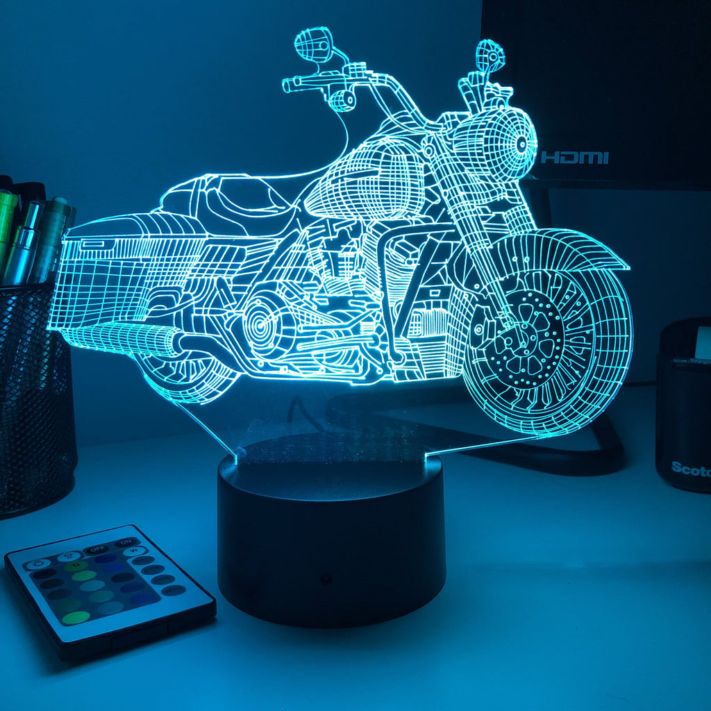 Road King Motorcycle - 3D Optical Illusion Lamp - carve-craftworks-llc