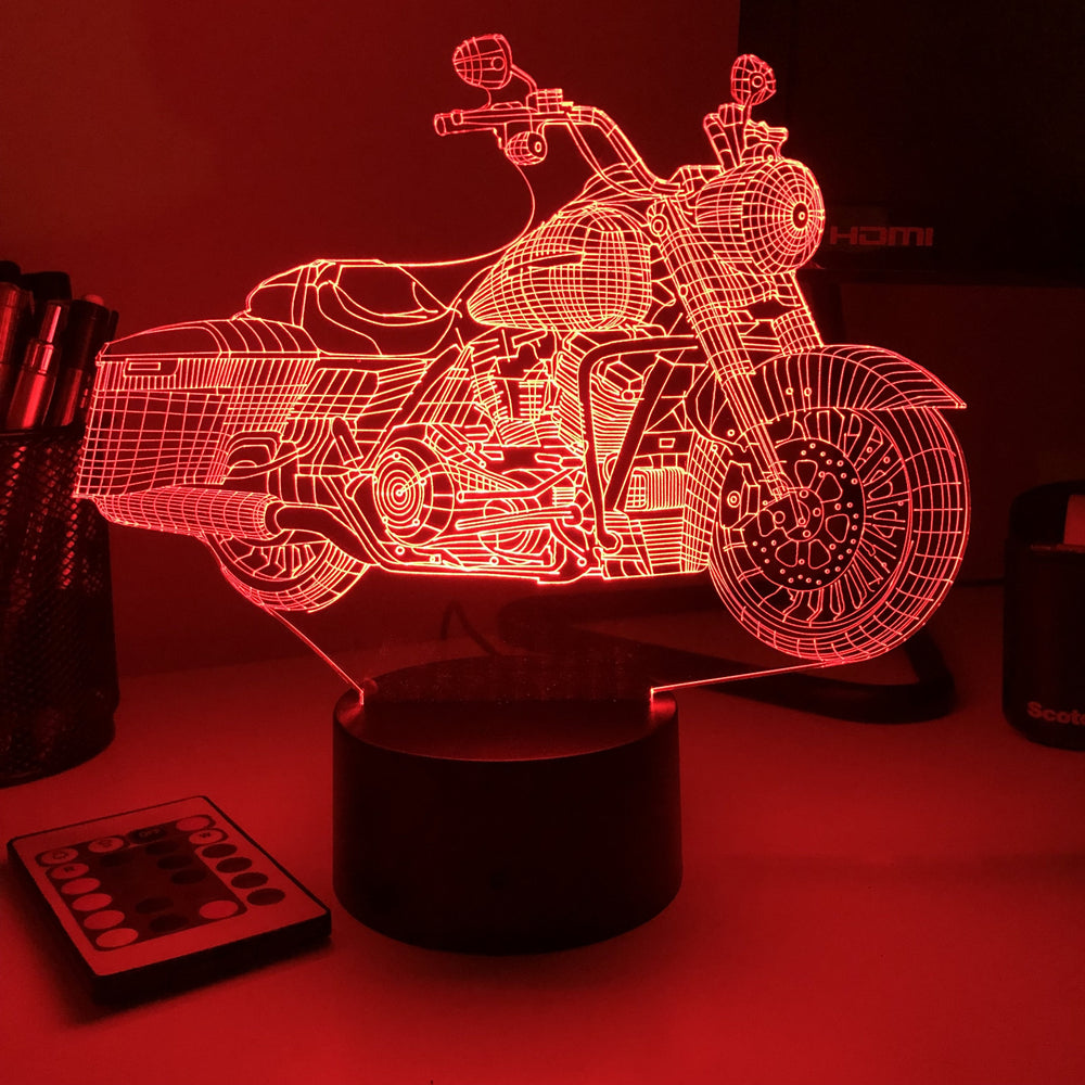 Motorcycle - 3D Optical Illusion Lamp - carve-craftworks-llc