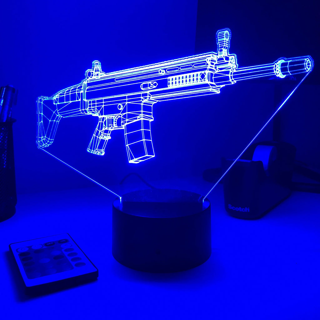 Rifle 5.56 Firearm - 3D Optical Illusion Lamp - carve-craftworks-llc