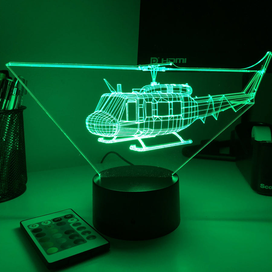 Bell UH-1 Iroquois Helicopter - 3D Optical Illusion Lamp - Carve Craftworks, LLC