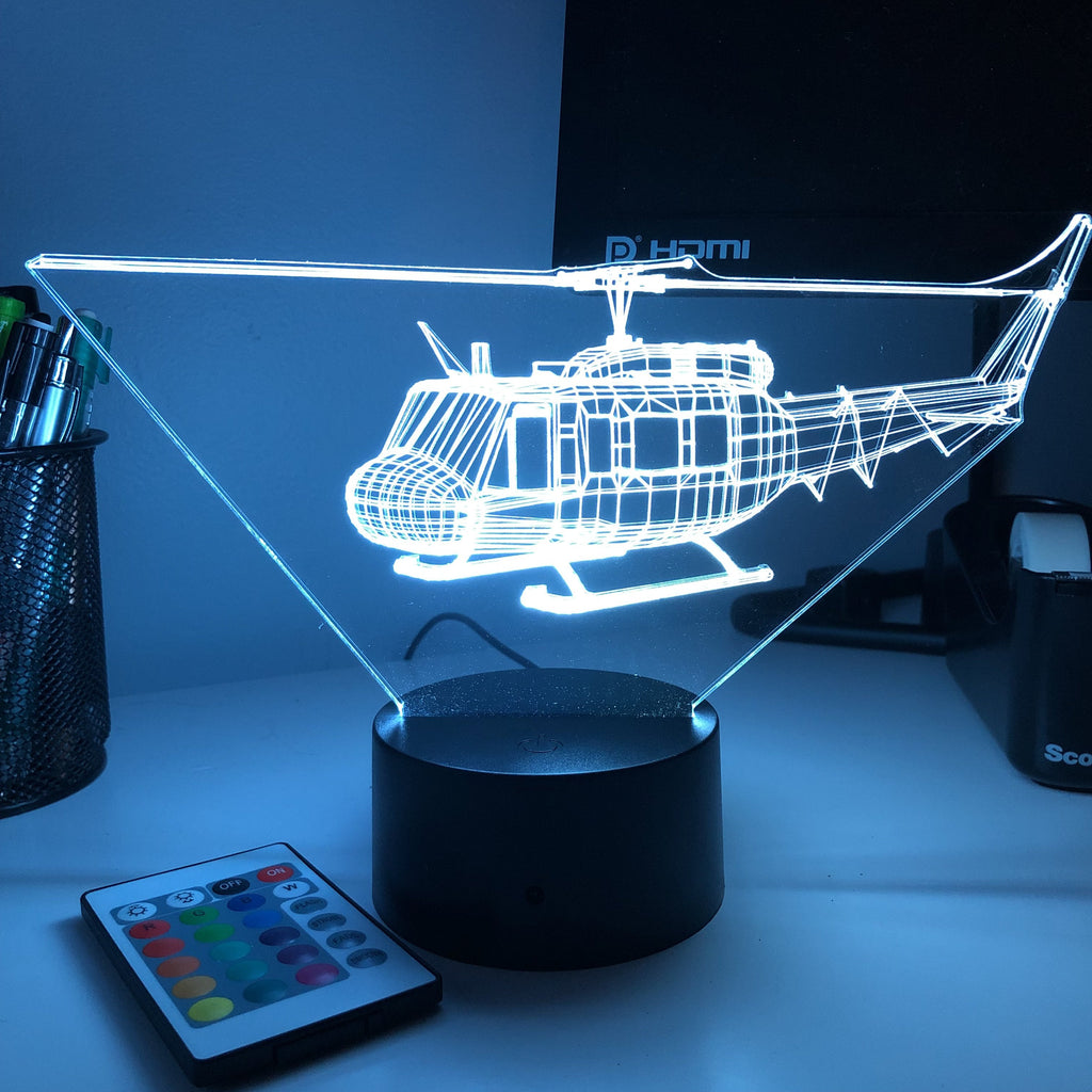 Bell UH-1 Iroquois Helicopter - 3D Optical Illusion Lamp - carve-craftworks-llc