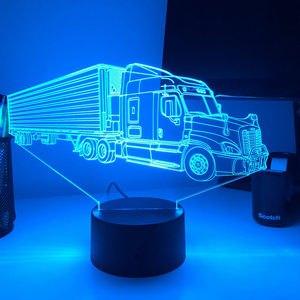Semi Tractor Trailer - 3D Optical Illusion Lamp - carve-craftworks-llc