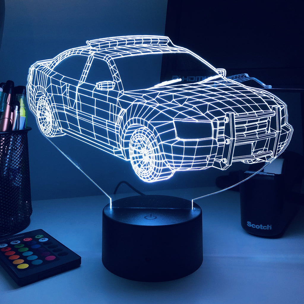 Police Squad Car - 3D Optical Illusion Lamp - carve-craftworks-llc