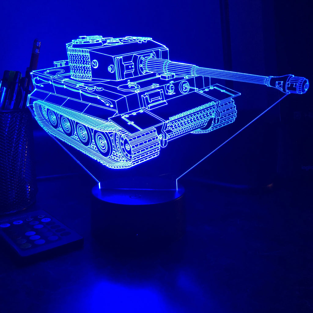 Tiger Tank  - 3D Optical Illusion Lamp - carve-craftworks-llc