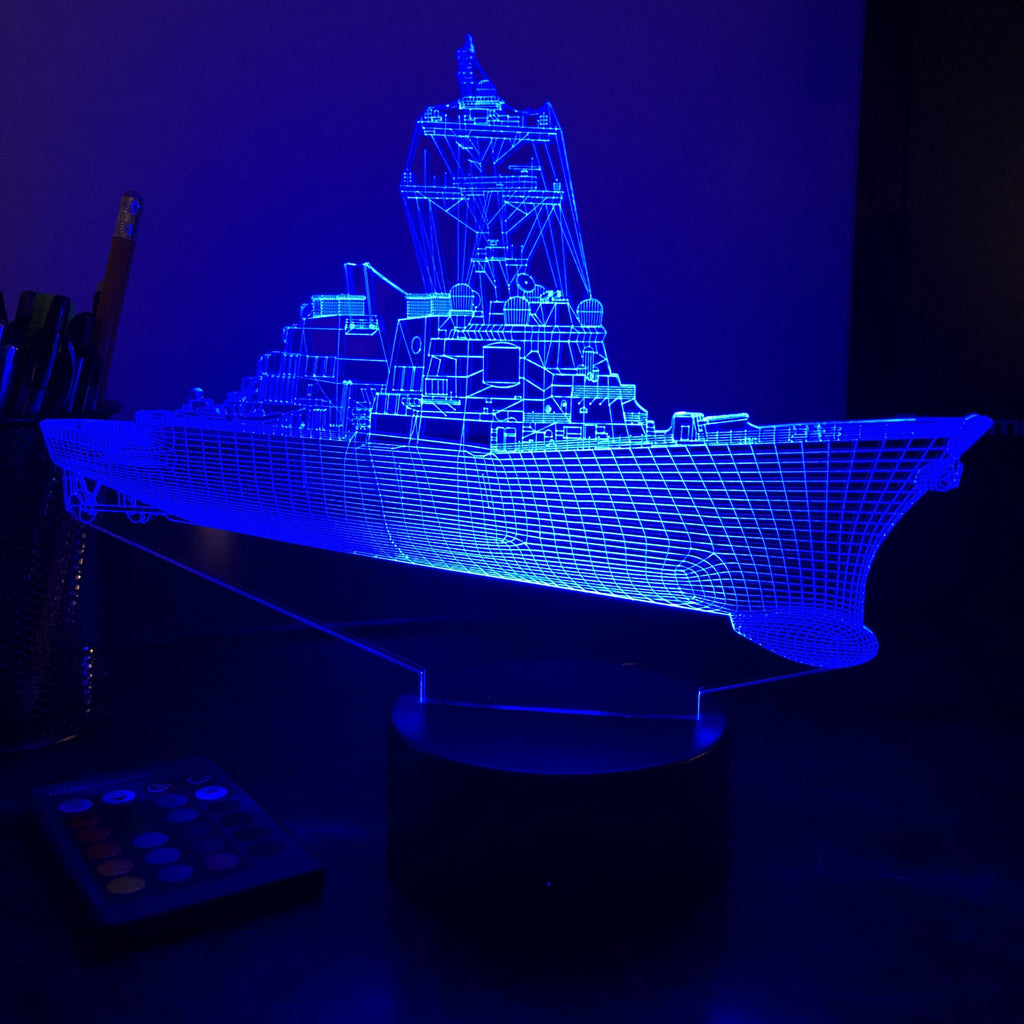 USN Guided Missile Destroyer - 3D Optical Illusion Lamp - carve-craftworks-llc