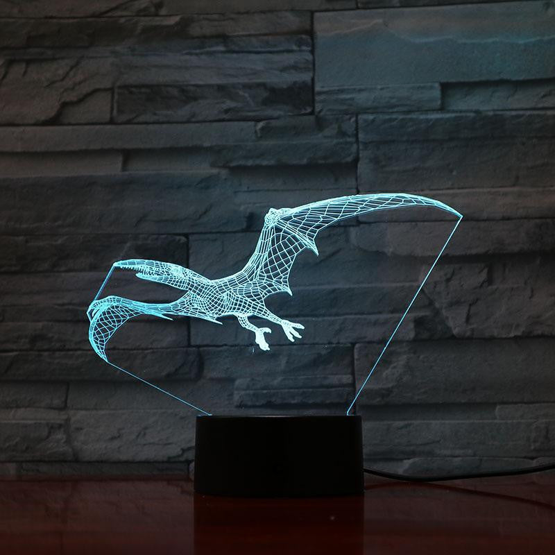 Jurassic Pterodactyl Dinosaur - 3D Optical Illusion Lamp - carve-craftworks-llc