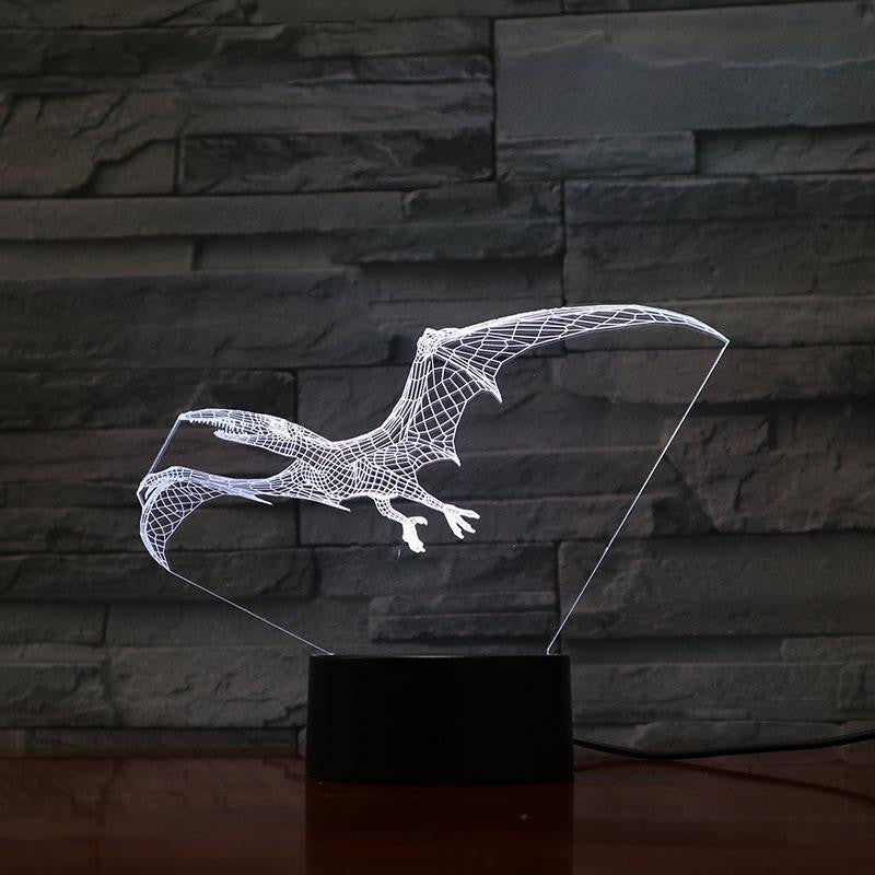 Pterodactyl Dinosaur - 3D Optical Illusion Lamp - carve-craftworks-llc