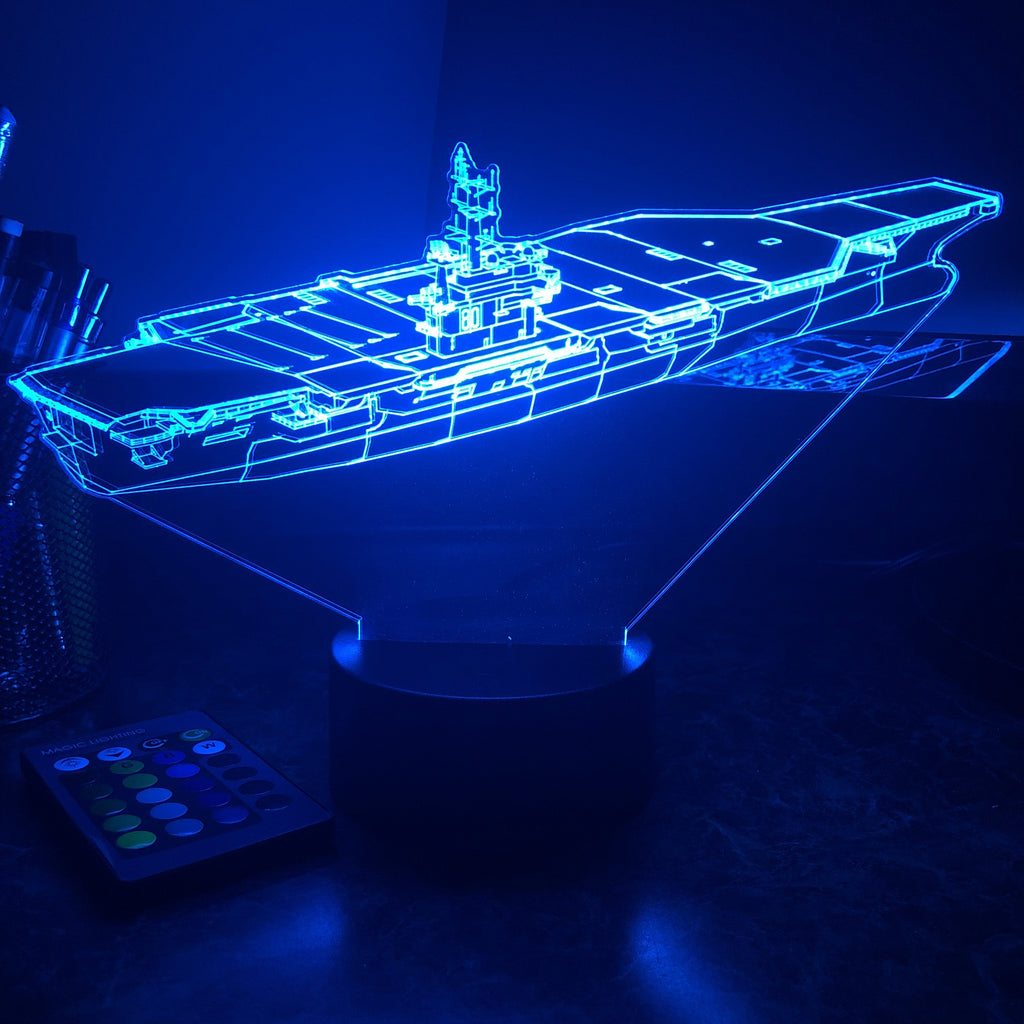 USN Aircraft Carrier - 3D Optical Illusion Lamp - carve-craftworks-llc