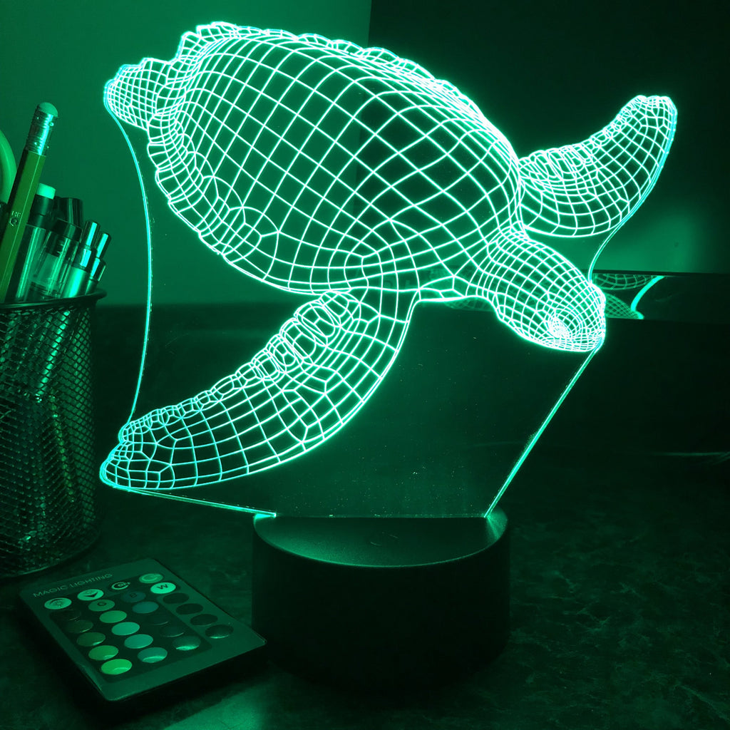 Seaturtle - Animal - 3D Optical Illusion Lamp - carve-craftworks-llc