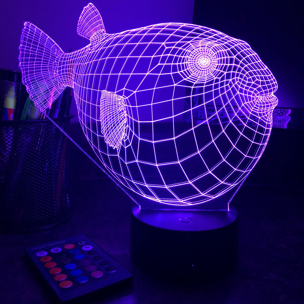 Puffer Fish - Animal - 3D Optical Illusion Lamp - carve-craftworks-llc
