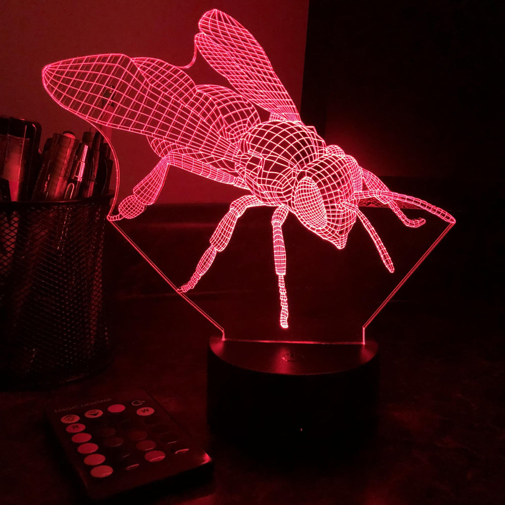 Wasp - Animal - 3D Optical Illusion Lamp - carve-craftworks-llc