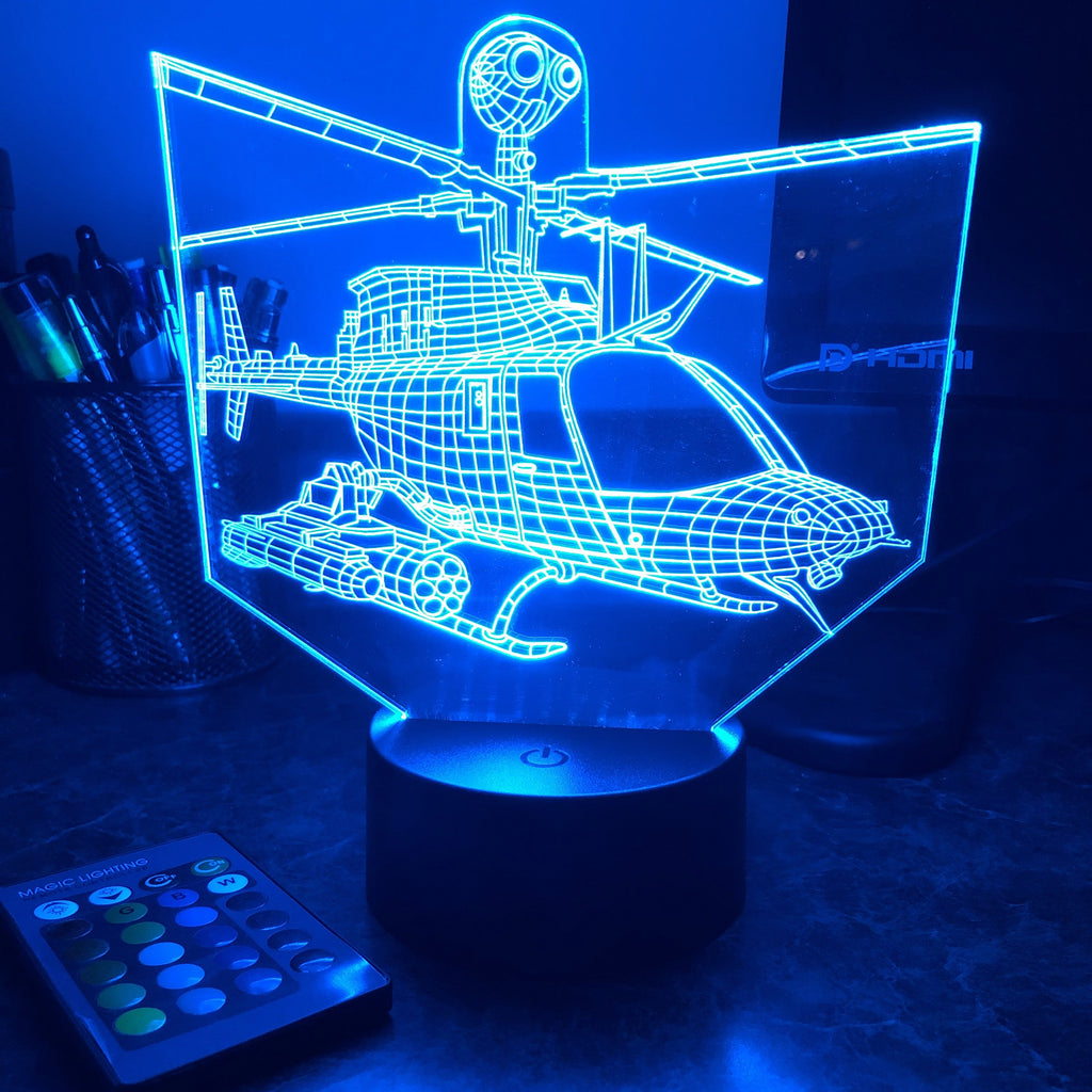 OH-58 Kiowa Helicopter - 3D Optical Illusion Lamp - carve-craftworks-llc
