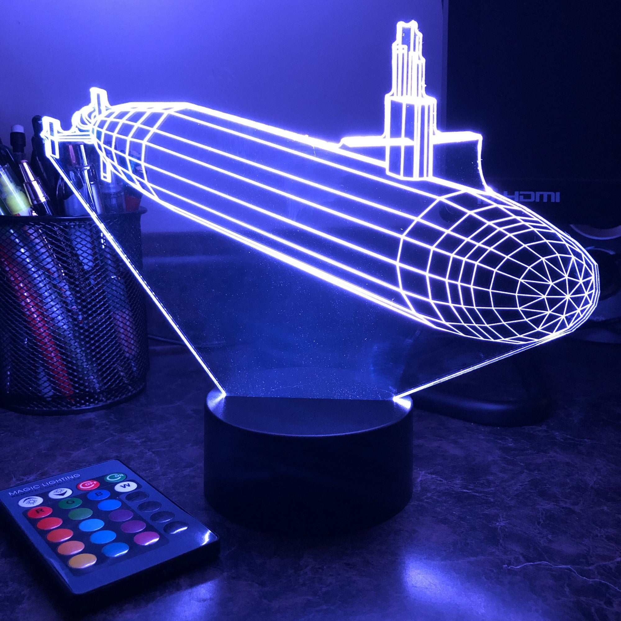 Ohio Class Submarine - 3D Optical Illusion Lamp - carve-craftworks-llc