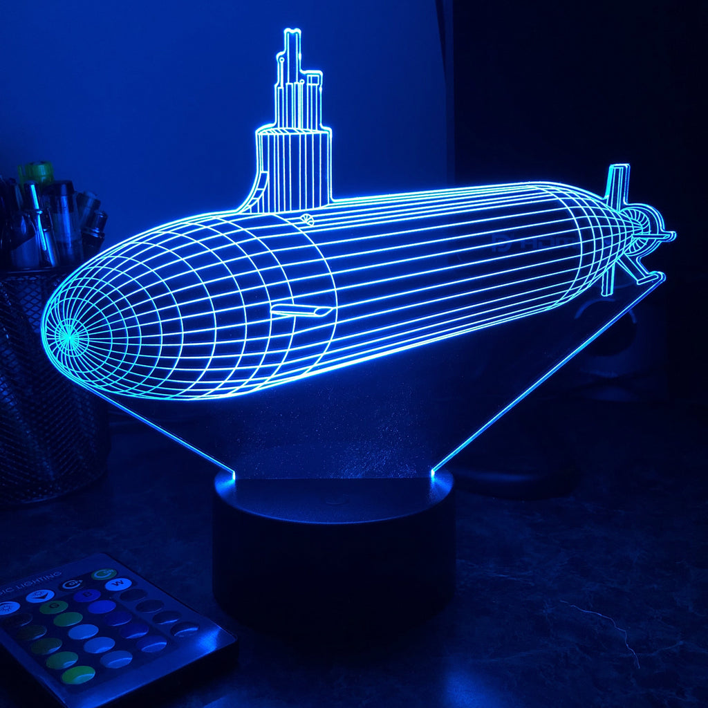 Seawolf Class Submarine - 3D Optical Illusion Lamp