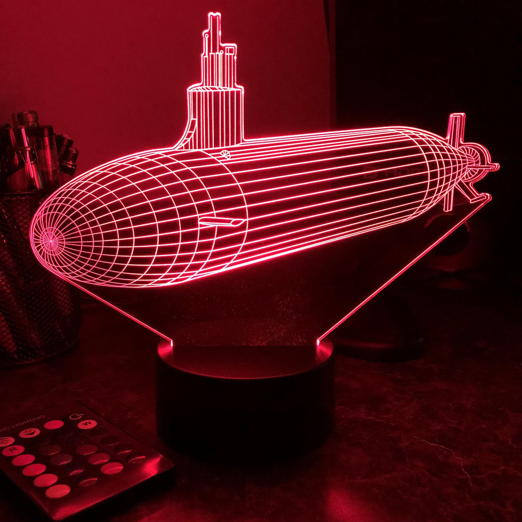 Seawolf Class Submarine - 3D Optical Illusion Lamp - carve-craftworks-llc