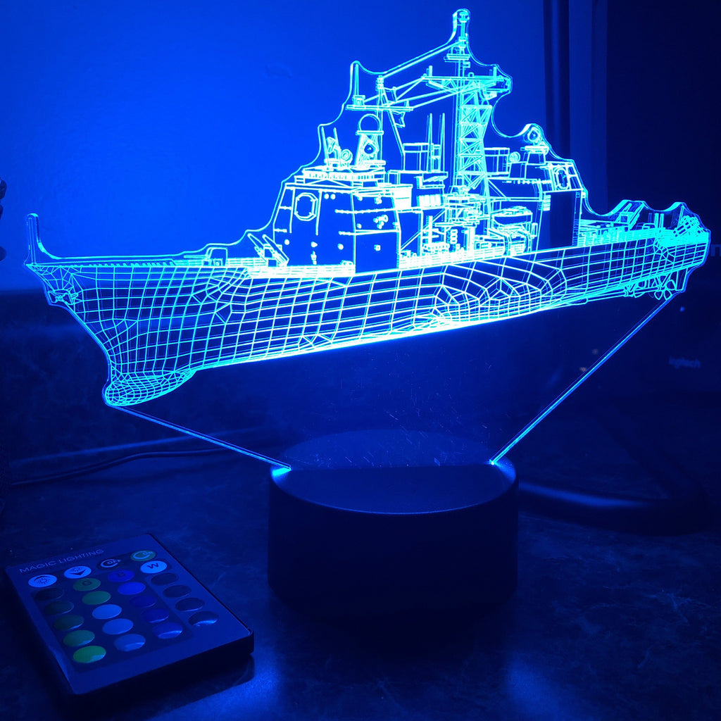 USN Ticonderoga Class Cruiser  (CG) - 3D Optical Illusion Lamp - carve-craftworks-llc