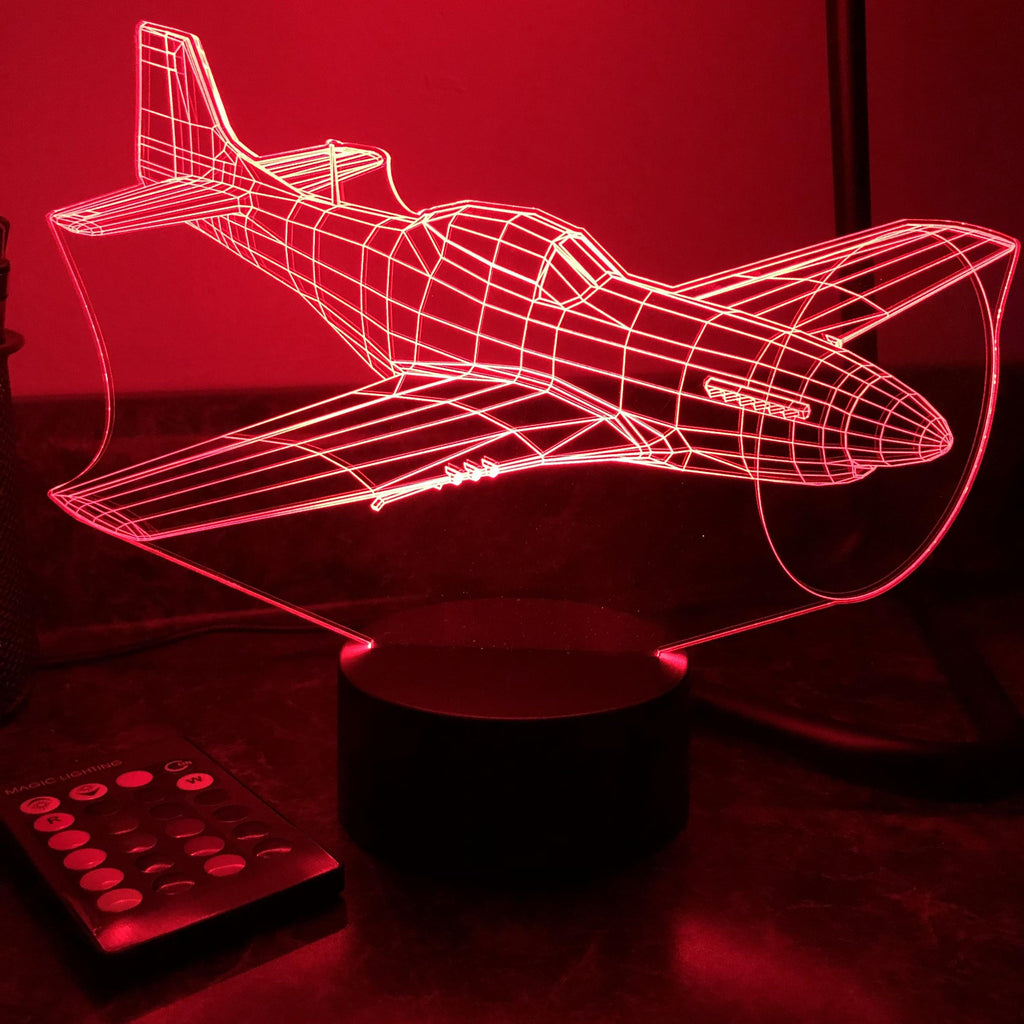 P-51 Mustang Fighter Plane - 3D Optical Illusion Lamp - carve-craftworks-llc