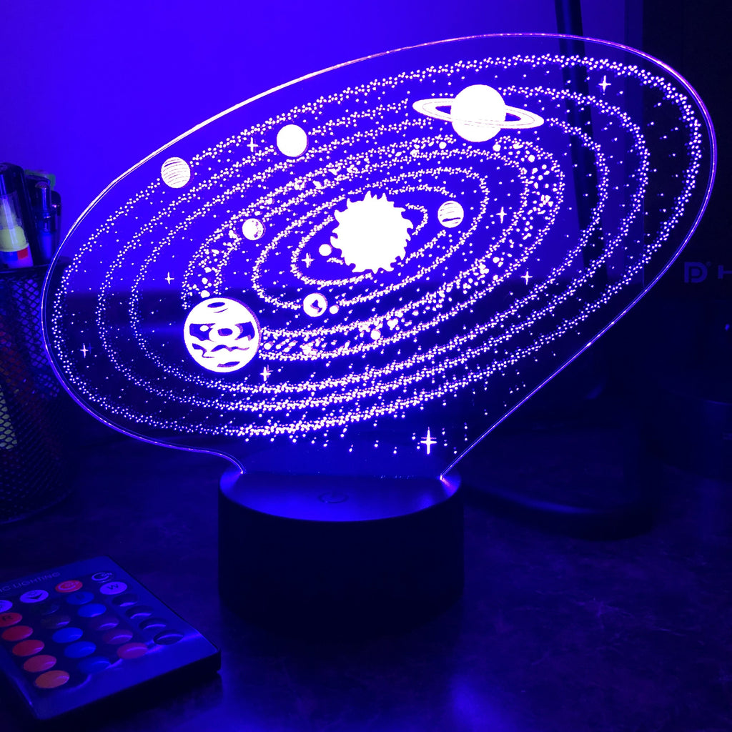 Outer Space Solar System - 3D Optical Illusion Lamp - carve-craftworks-llc