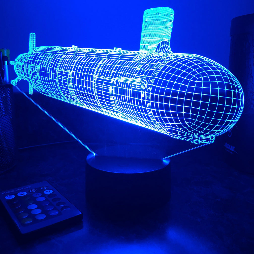 US Navy Virginia Class Submarine - 3D Optical Illusion Lamp - carve-craftworks-llc