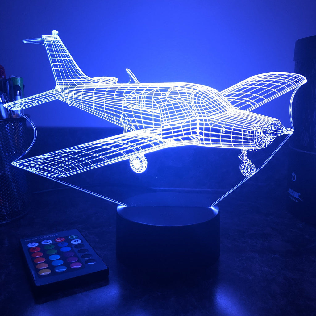 Cherokee Warrior Airplane - 3D Optical Illusion Lamp - carve-craftworks-llc