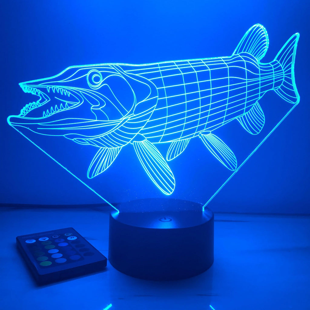 Musky Fish - Animal - 3D Optical Illusion Lamp - carve-craftworks-llc