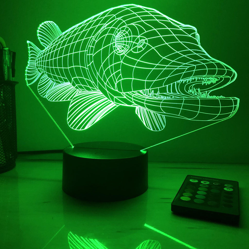 Northern Pike - Animal - 3D Optical Illusion Lamp - carve-craftworks-llc