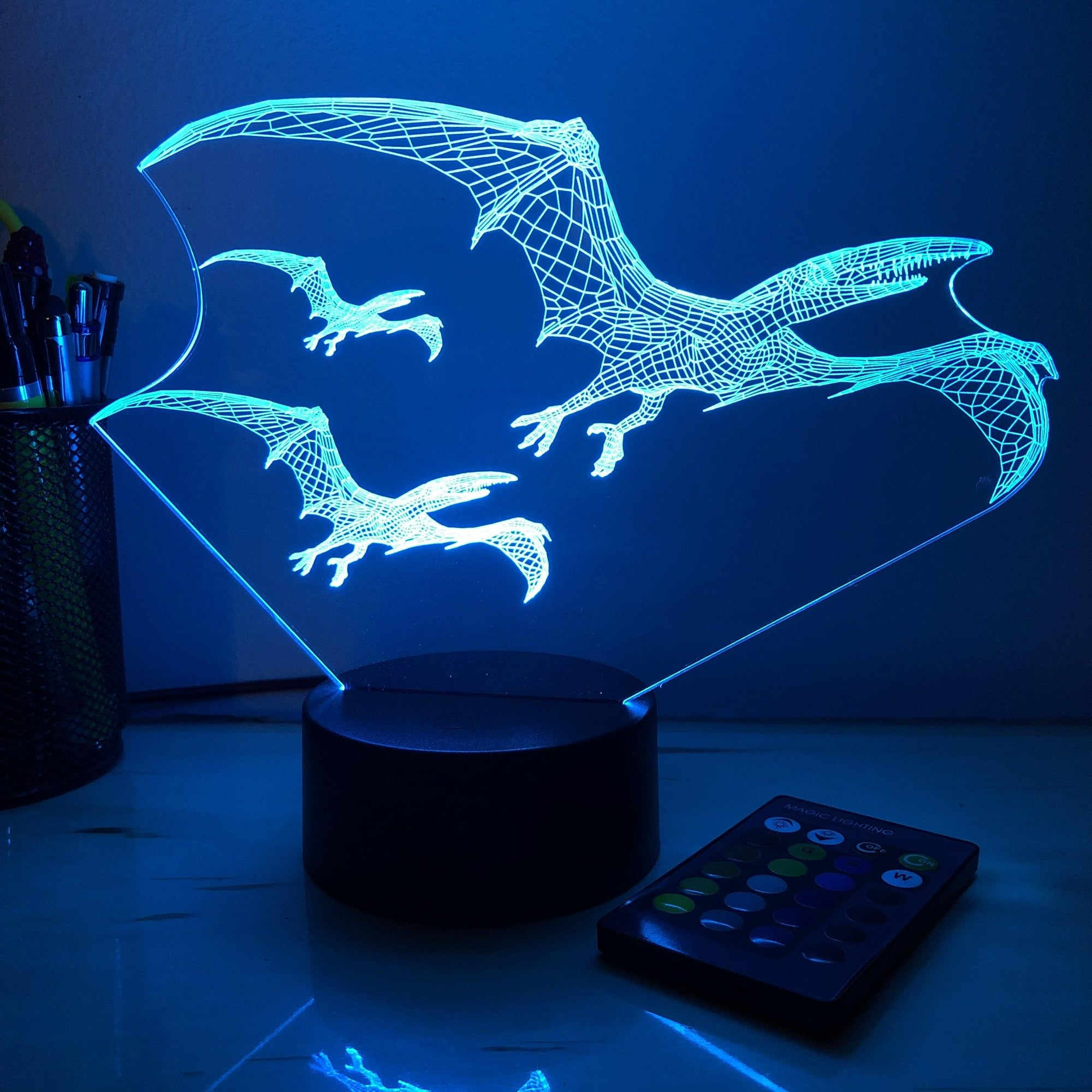 Pterodactyl Dinosaur Flock - 3D Optical Illusion Lamp - carve-craftworks-llc
