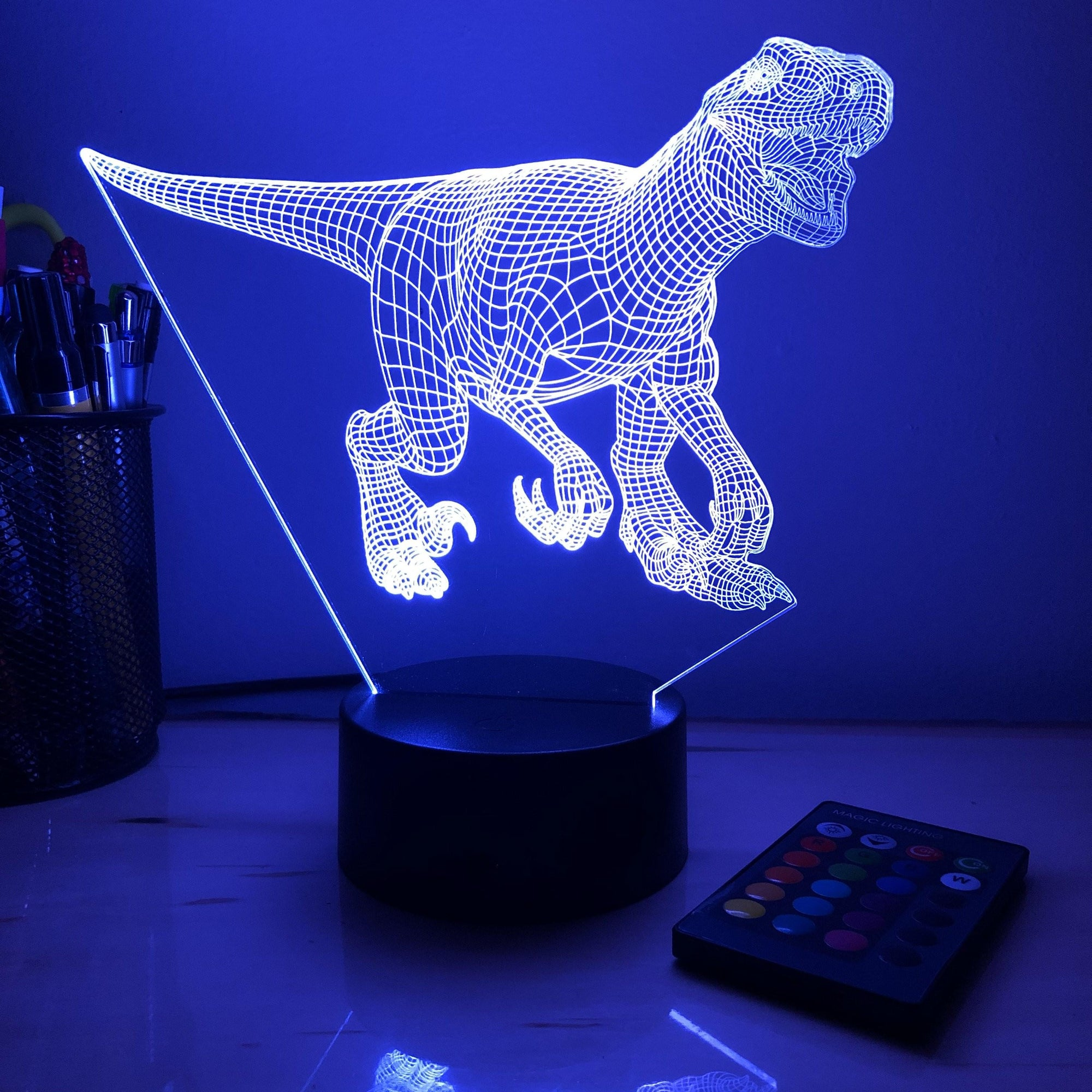 Utah Raptor Dinosaur - 3D Optical Illusion Lamp - carve-craftworks-llc
