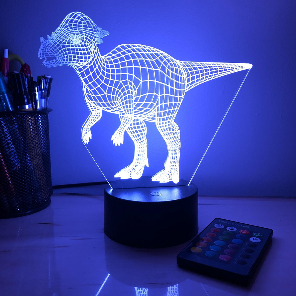 Pachy Dinosaur - 3D Optical Illusion Lamp - carve-craftworks-llc