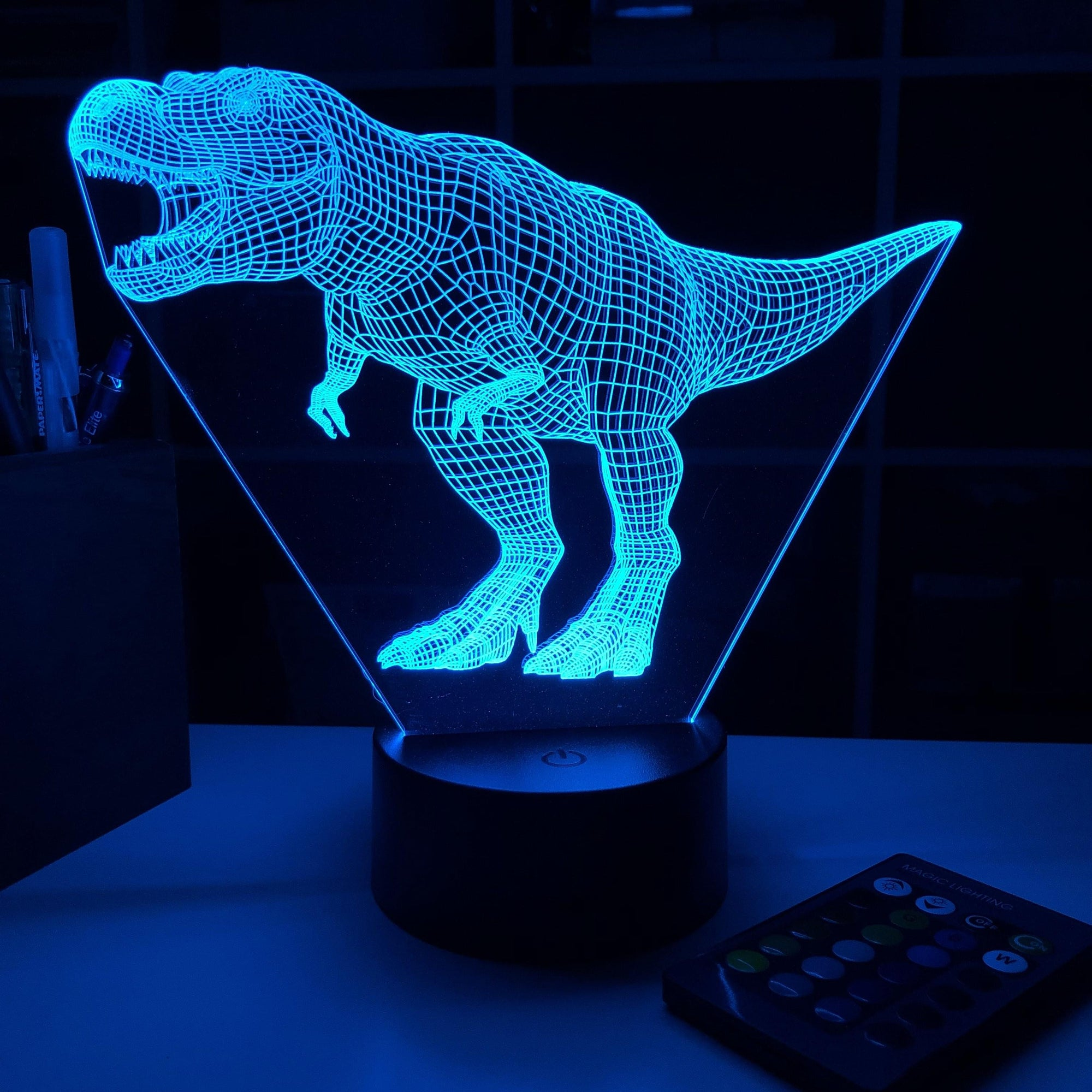 Tyrannosaurus Rex Dinosaur (2) - 3D Optical Illusion Lamp - carve-craftworks-llc