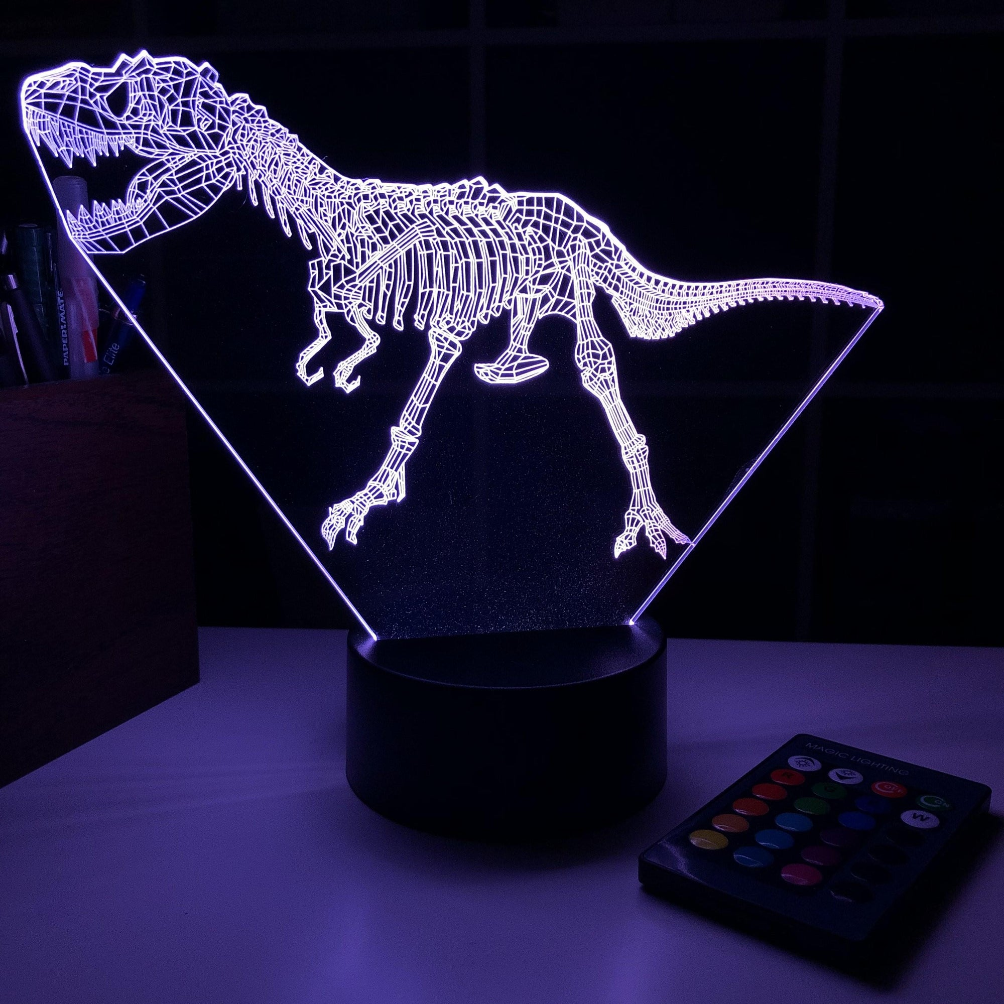 Tyrannosaurus Rex Dinosaur Bones - 3D Optical Illusion Lamp - carve-craftworks-llc