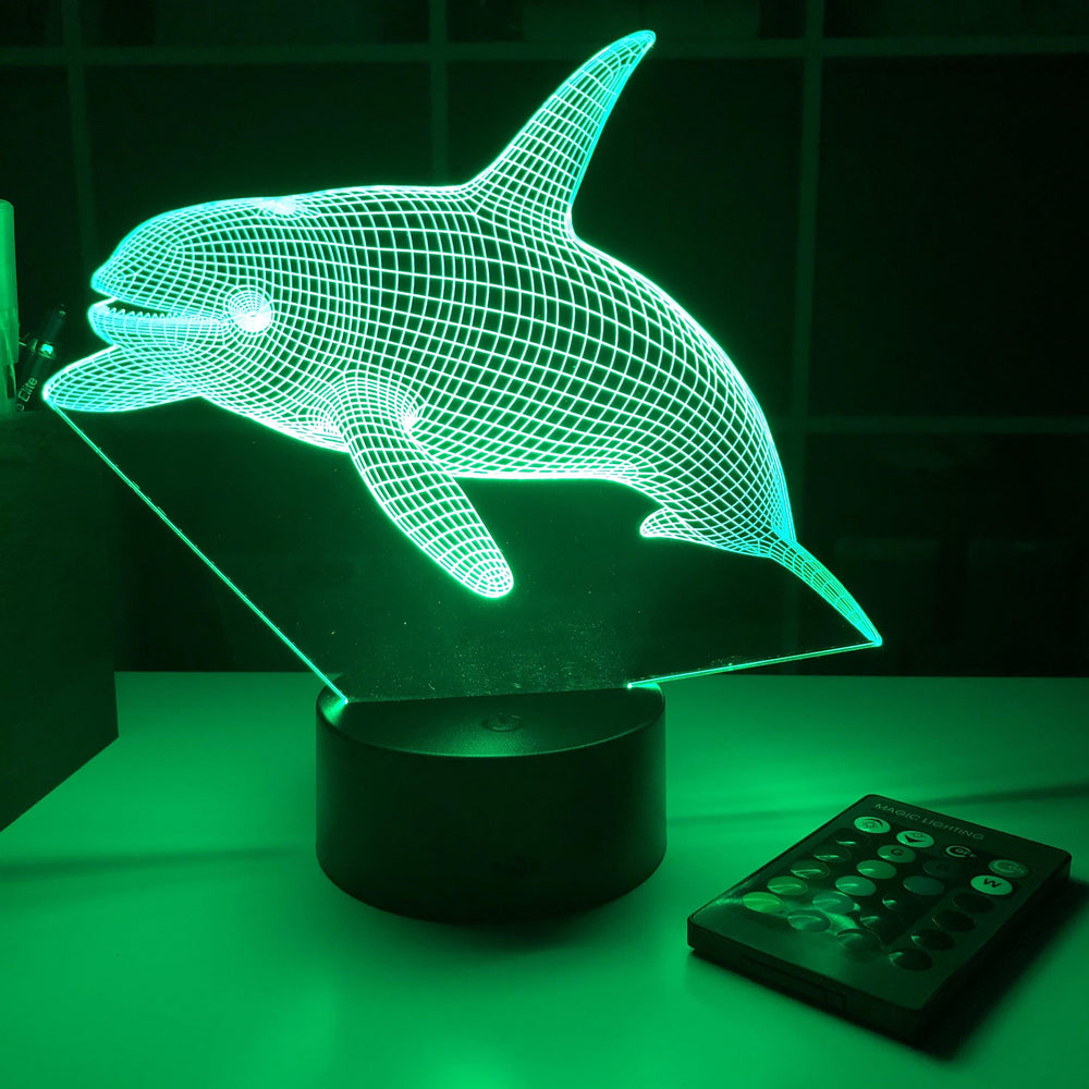 Orca Killer Whale (2)  - Animal - 3D Optical Illusion Lamp - carve-craftworks-llc