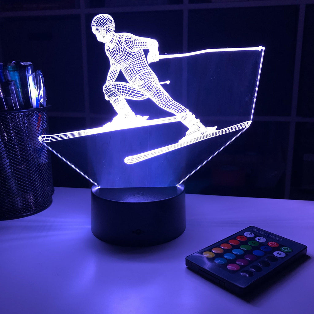 Skier - 3D Optical Illusion Lamp - carve-craftworks-llc