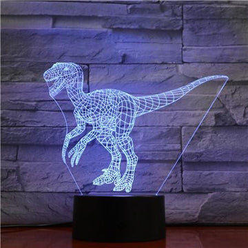 Jurassic Raptor Dinosaur - 3D Optical Illusion Night Light Lamp