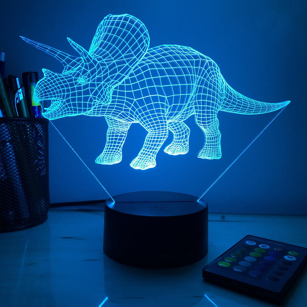 Triceratops Dinosaur - 3D Optical Illusion Lamp - carve-craftworks-llc