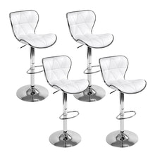 Load image into Gallery viewer, Artiss Set of 4 PU Leather Patterned Bar Stools - White and Chrome